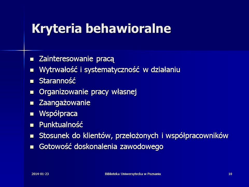 Kryteria behawioralne