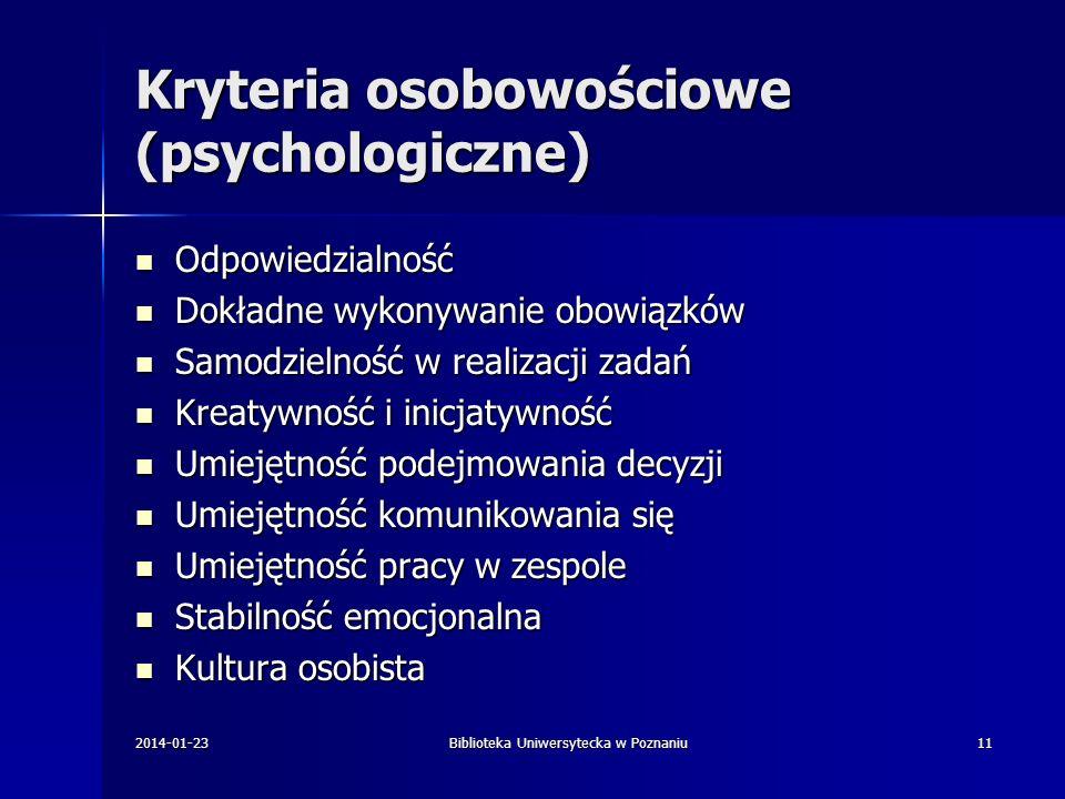 Kryteria osobowościowe (psychologiczne)