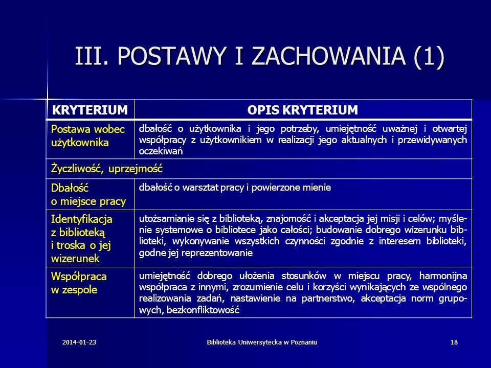 III. POSTAWY I ZACHOWANIA (1)
