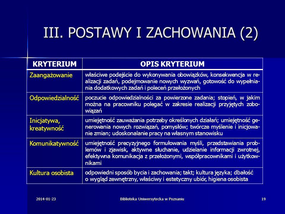 III. POSTAWY I ZACHOWANIA (2)