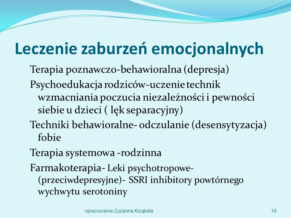 Leczenie zaburzeń emocjonalnych