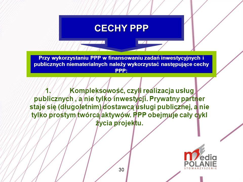 CECHY PPP Przy wykorzystaniu PPP w finansowaniu zadań inwestycyjnych i publicznych niematerialnych należy wykorzystać następujące cechy PPP: