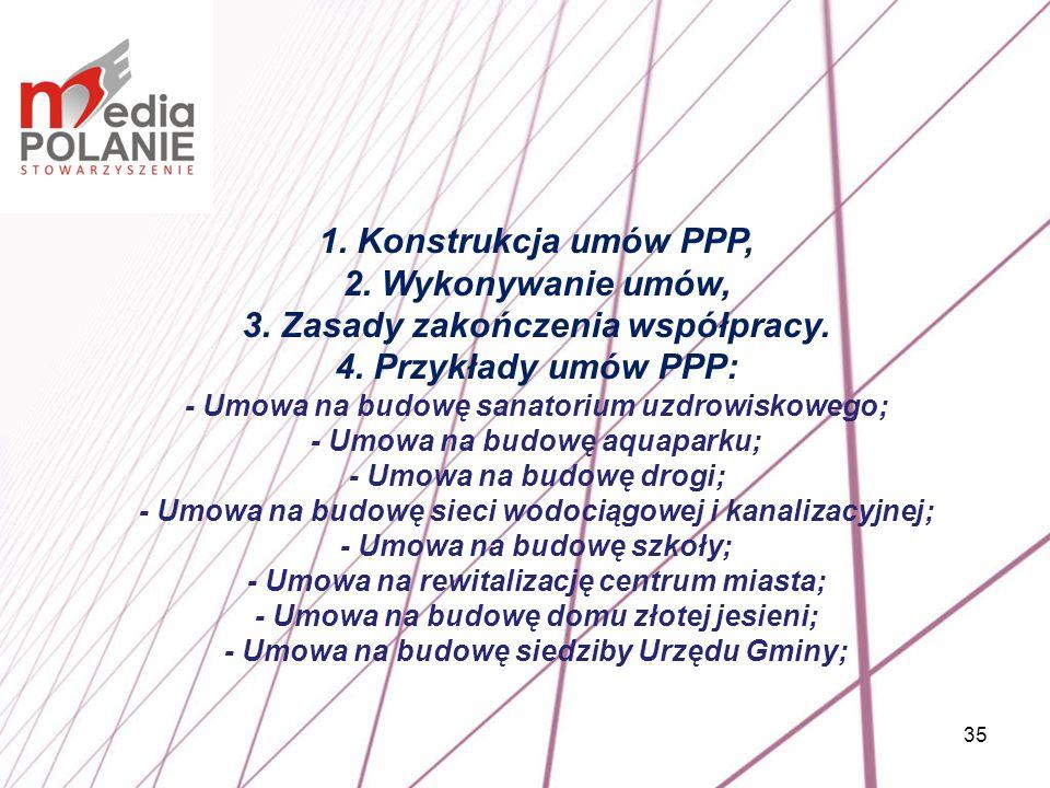 3. Zasady zakończenia współpracy. 4. Przykłady umów PPP: