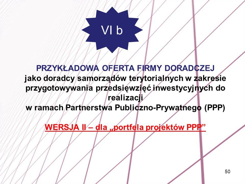 """WERSJA II – dla """"portfela projektów PPP"""