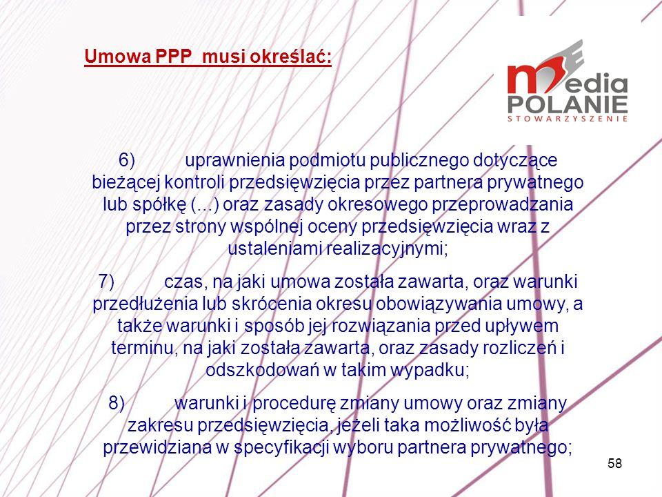 Umowa PPP musi określać: