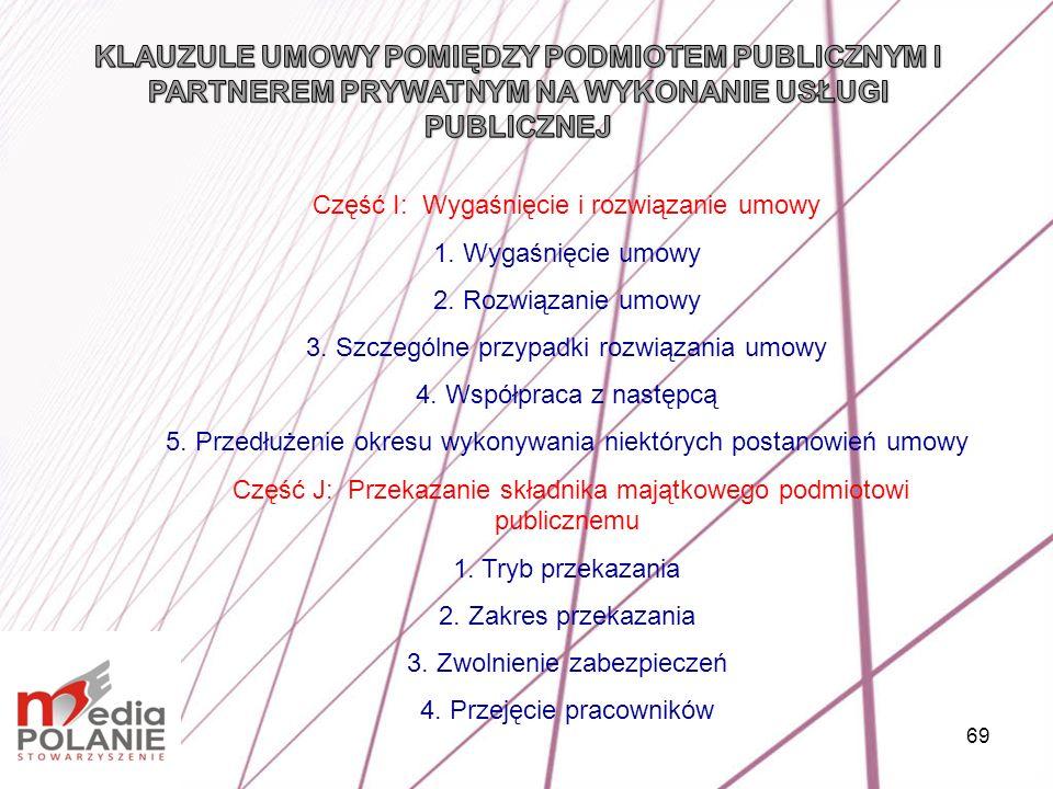 KLAUZULE UMOWY POMIĘDZY PODMIOTEM PUBLICZNYM I PARTNEREM PRYWATNYM NA WYKONANIE USŁUGI PUBLICZNEJ