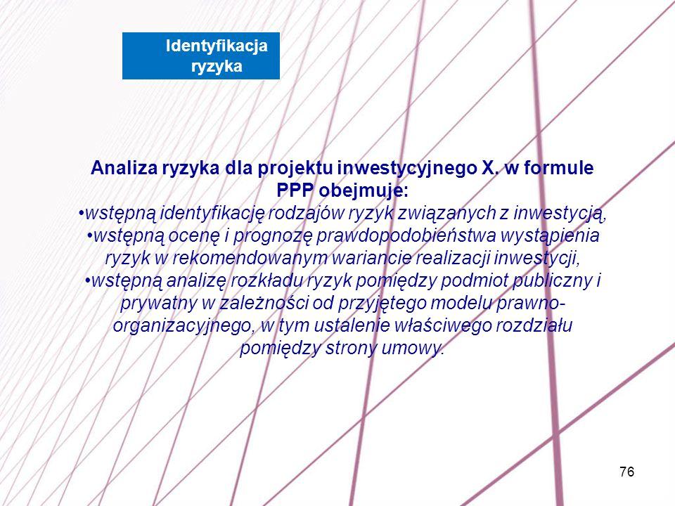 Analiza ryzyka dla projektu inwestycyjnego X. w formule PPP obejmuje: