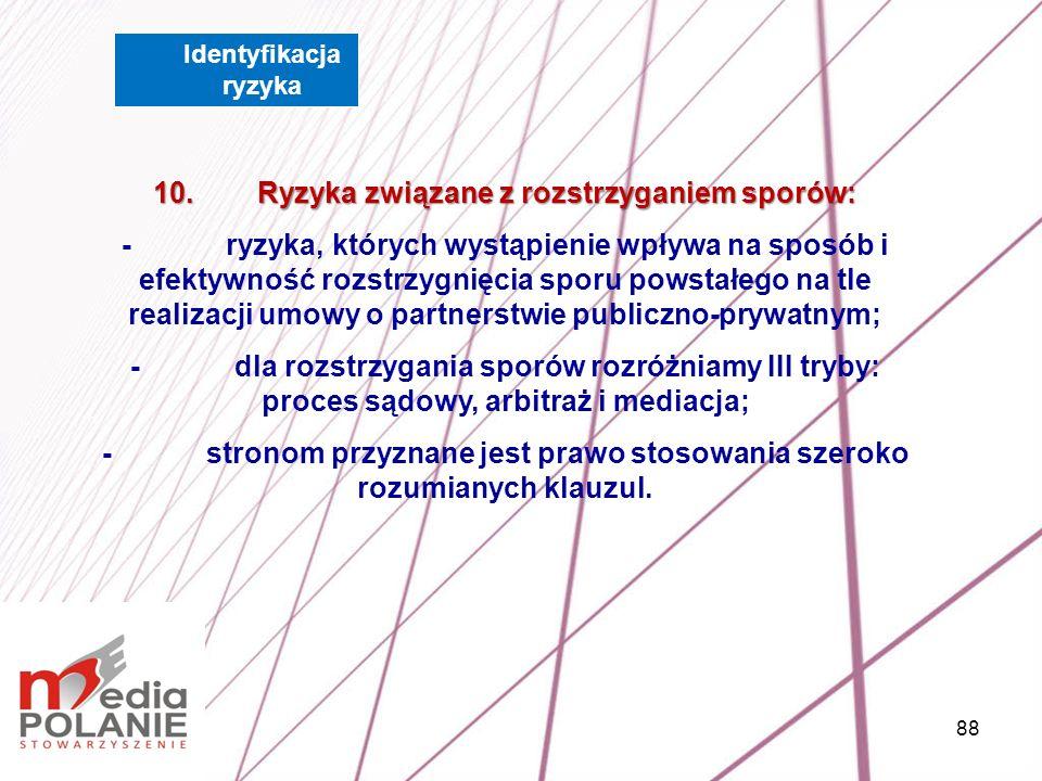 10. Ryzyka związane z rozstrzyganiem sporów: