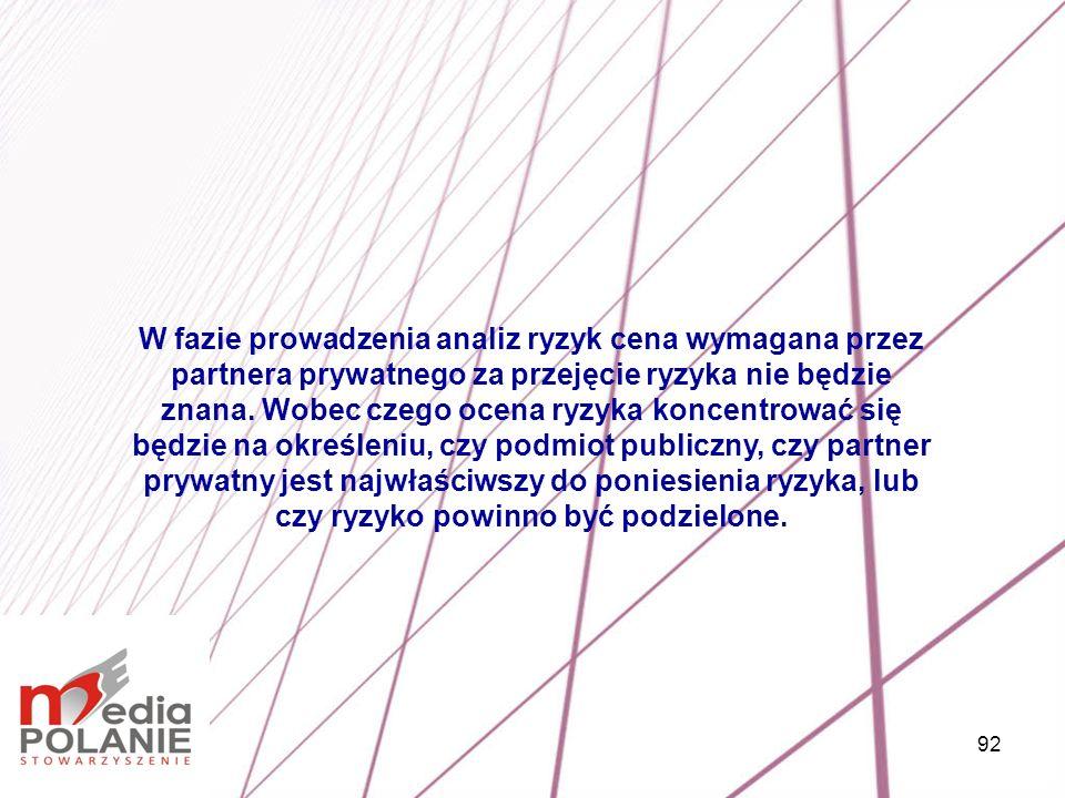 W fazie prowadzenia analiz ryzyk cena wymagana przez partnera prywatnego za przejęcie ryzyka nie będzie znana.
