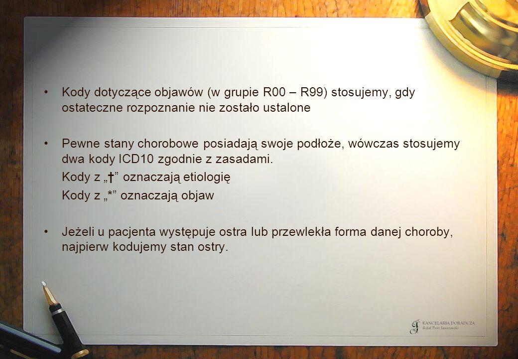 Kody dotyczące objawów (w grupie R00 – R99) stosujemy, gdy ostateczne rozpoznanie nie zostało ustalone