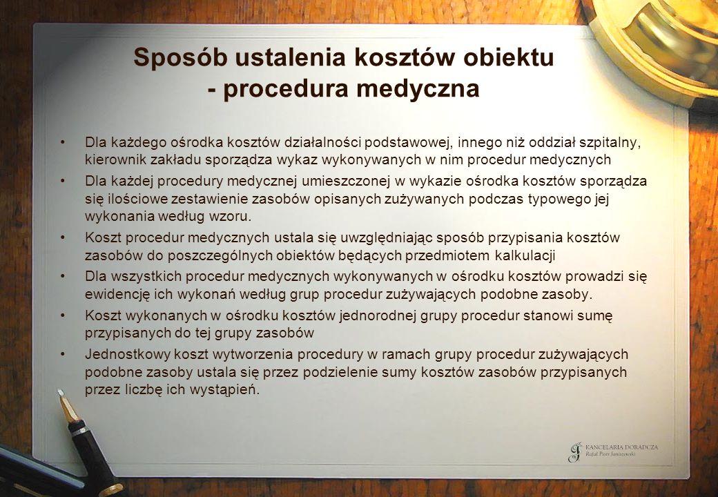 Sposób ustalenia kosztów obiektu - procedura medyczna