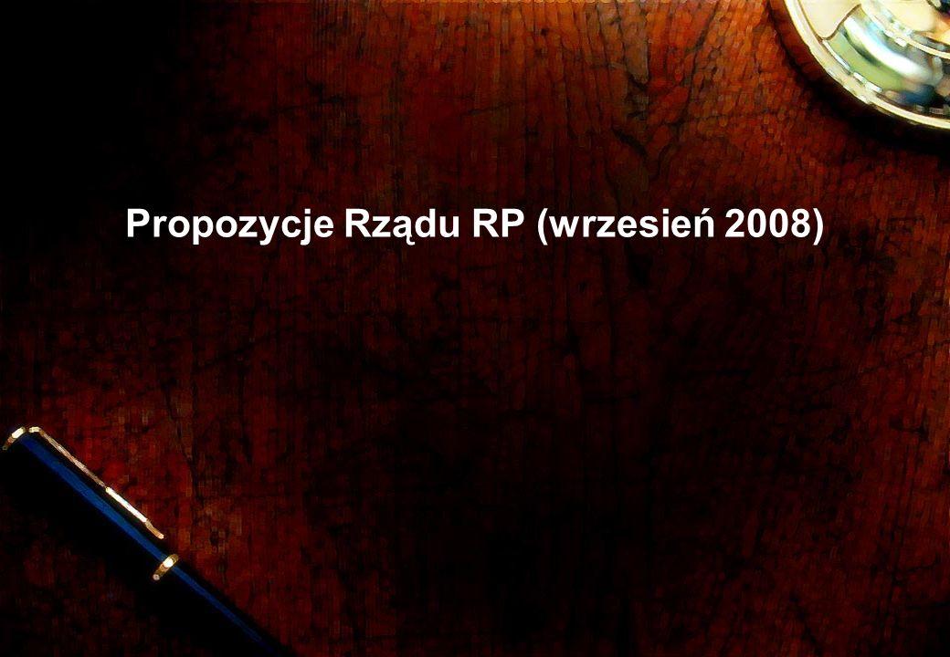 Propozycje Rządu RP (wrzesień 2008)