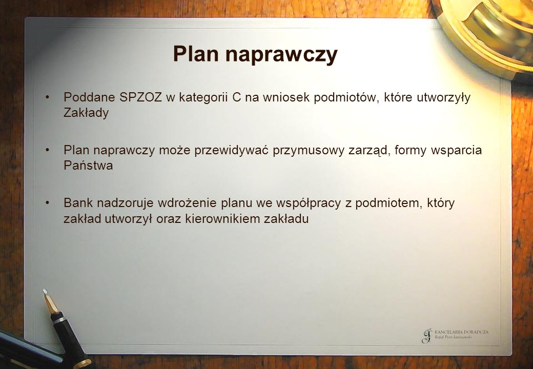Plan naprawczy Poddane SPZOZ w kategorii C na wniosek podmiotów, które utworzyły Zakłady.