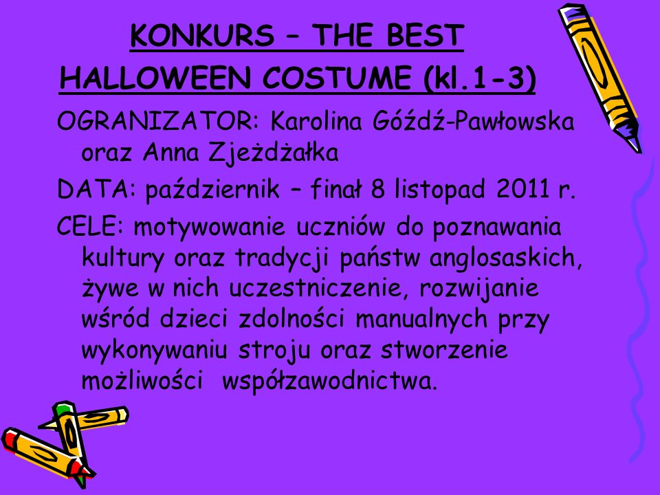KONKURS – THE BEST HALLOWEEN COSTUME (kl.1-3)