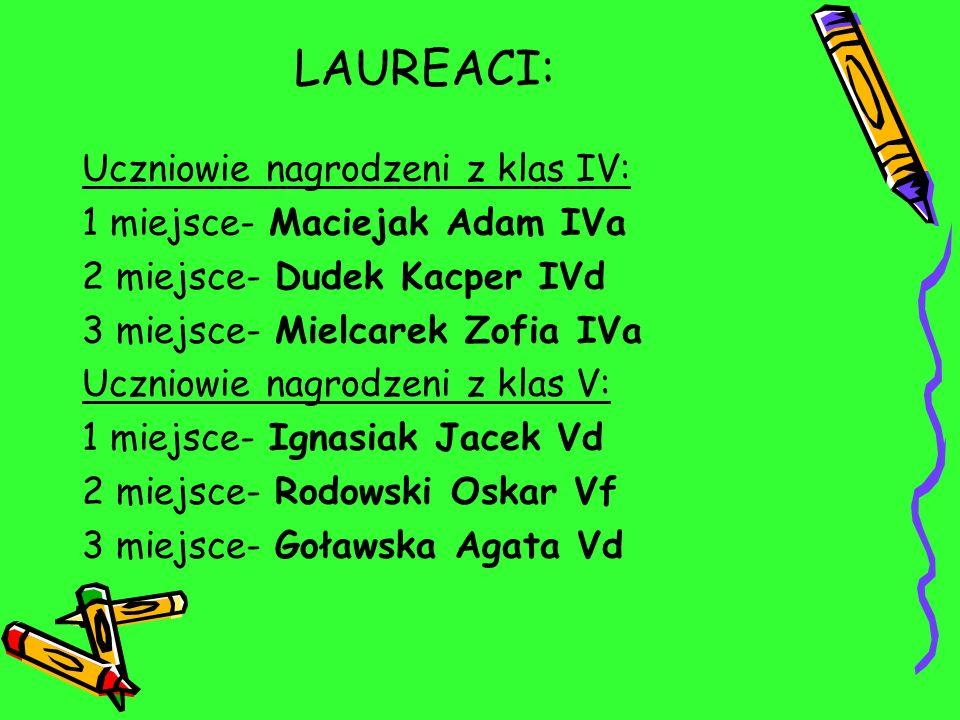 LAUREACI: Uczniowie nagrodzeni z klas IV: 1 miejsce- Maciejak Adam IVa