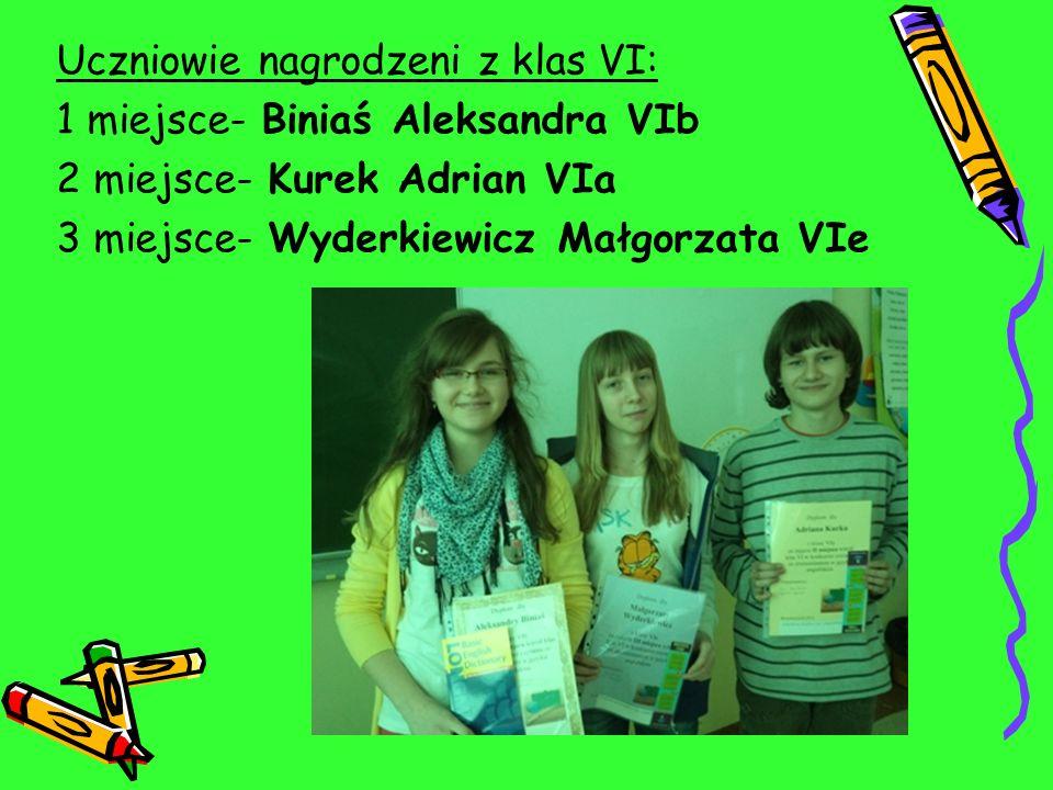Uczniowie nagrodzeni z klas VI: