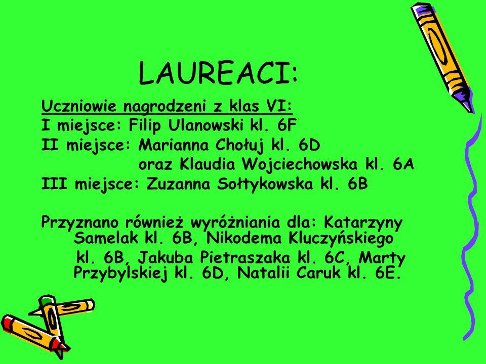 LAUREACI: Uczniowie nagrodzeni z klas VI: