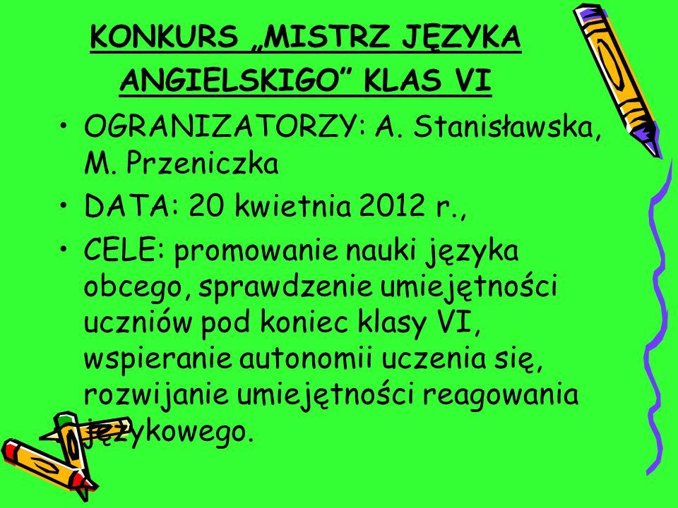 """KONKURS """"MISTRZ JĘZYKA ANGIELSKIGO KLAS VI"""