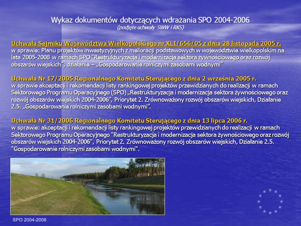 Wykaz dokumentów dotyczących wdrażania SPO 2004-2006