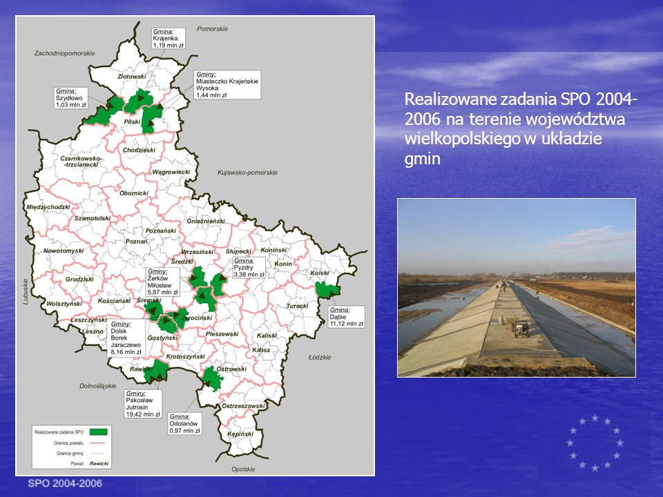 Realizowane zadania SPO 2004-2006 na terenie województwa wielkopolskiego w układzie gmin