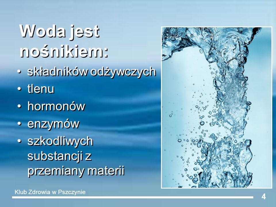 Woda jest nośnikiem: składników odżywczych tlenu hormonów enzymów