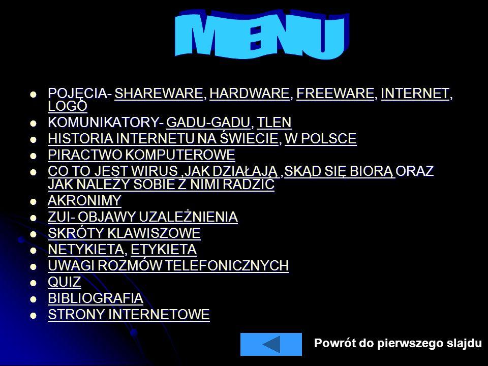 MENU POJĘCIA- SHAREWARE, HARDWARE, FREEWARE, INTERNET, LOGO
