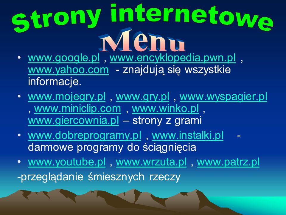 Strony internetowe Menu