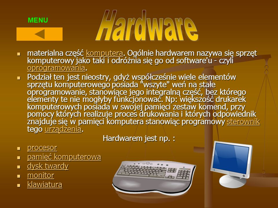 Hardware MENU.