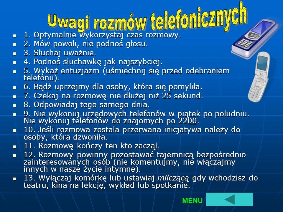 Uwagi rozmów telefonicznych