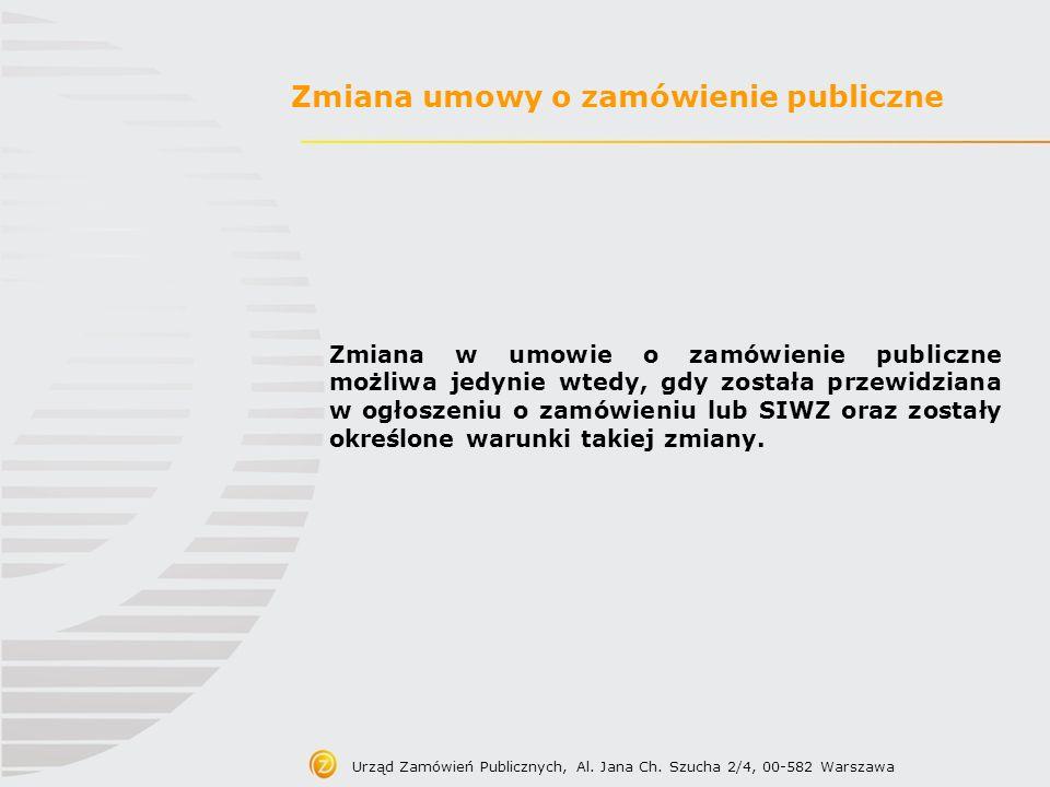 Zmiana umowy o zamówienie publiczne