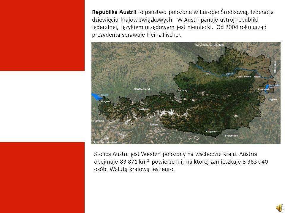 Republika Austrii to państwo położone w Europie Środkowej, federacja dziewięciu krajów związkowych. W Austri panuje ustrój republiki federalnej, językiem urzędowym jest niemiecki. Od 2004 roku urząd prezydenta sprawuje Heinz Fischer.