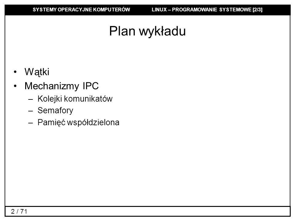 Plan wykładu Wątki Mechanizmy IPC Kolejki komunikatów Semafory