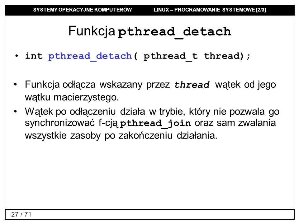 Funkcja pthread_detach