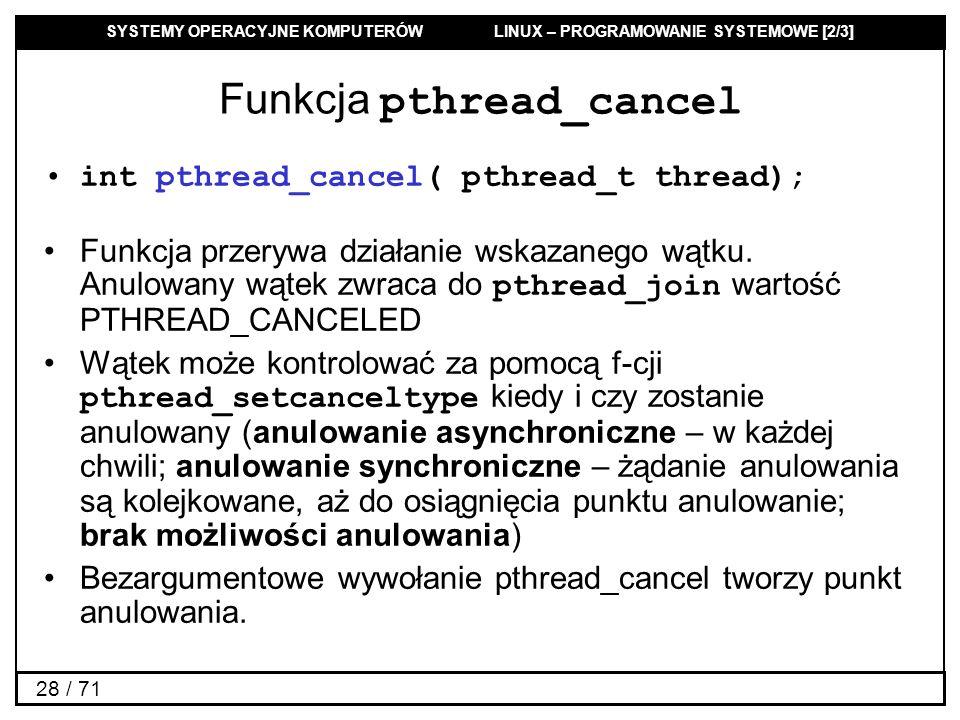 Funkcja pthread_cancel