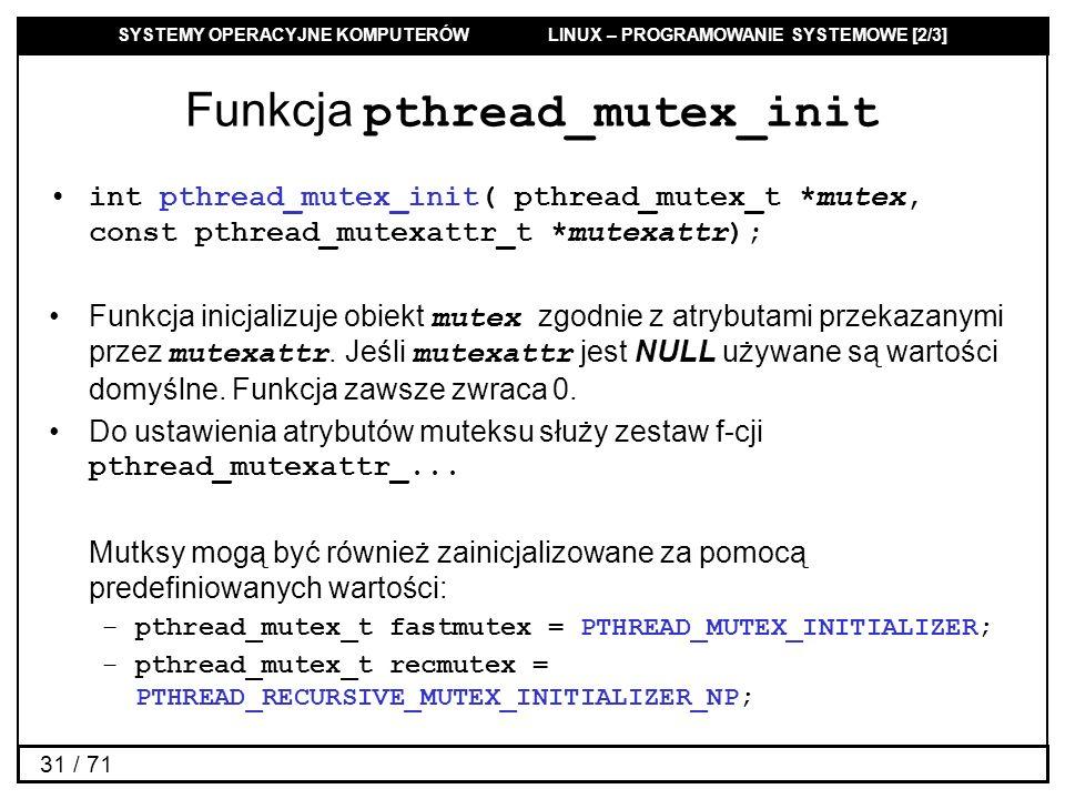 Funkcja pthread_mutex_init