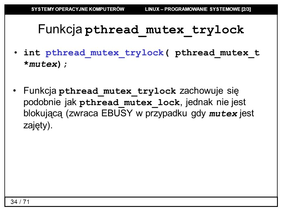 Funkcja pthread_mutex_trylock