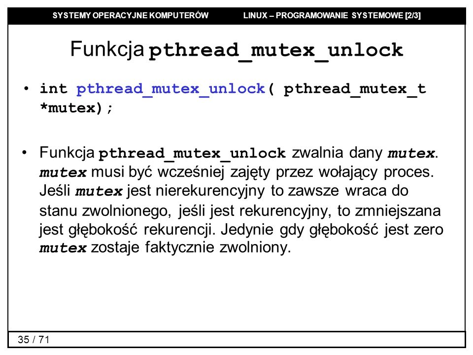 Funkcja pthread_mutex_unlock