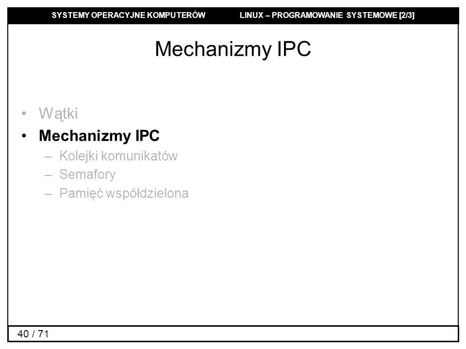 Mechanizmy IPC Wątki Mechanizmy IPC Kolejki komunikatów Semafory