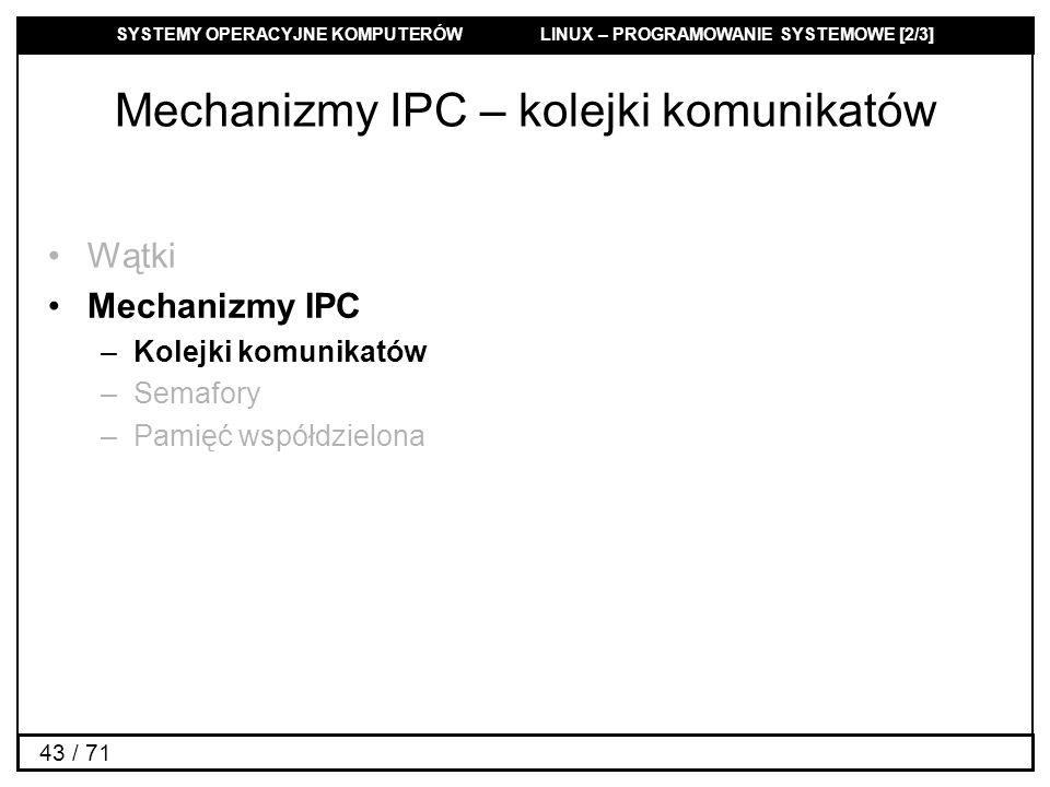 Mechanizmy IPC – kolejki komunikatów