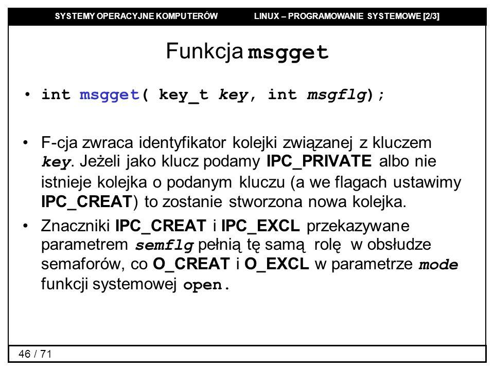 Funkcja msgget int msgget( key_t key, int msgflg);