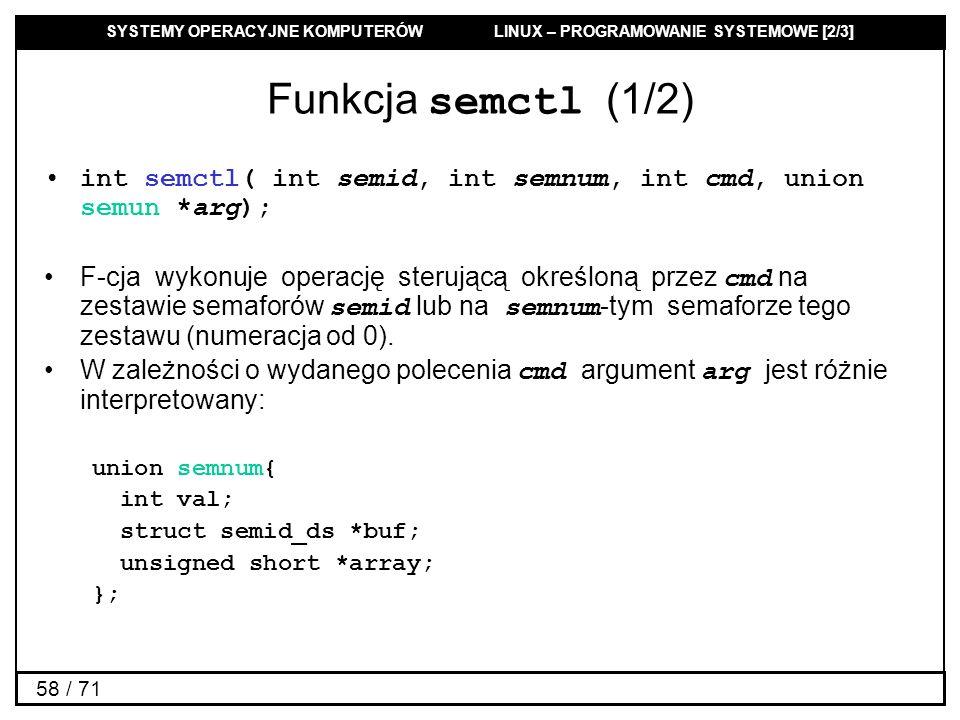 Funkcja semctl (1/2) int semctl( int semid, int semnum, int cmd, union semun *arg);
