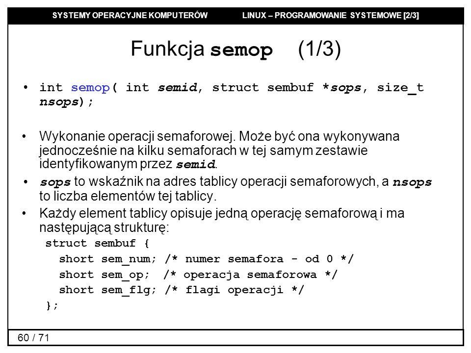 Funkcja semop (1/3) int semop( int semid, struct sembuf *sops, size_t nsops);
