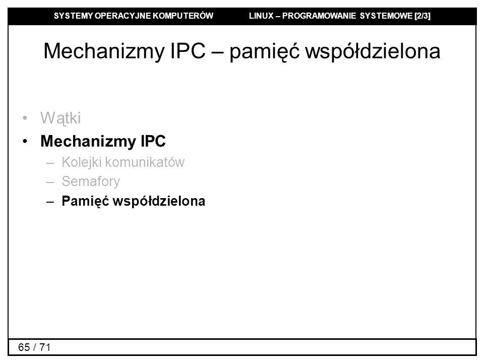 Mechanizmy IPC – pamięć współdzielona