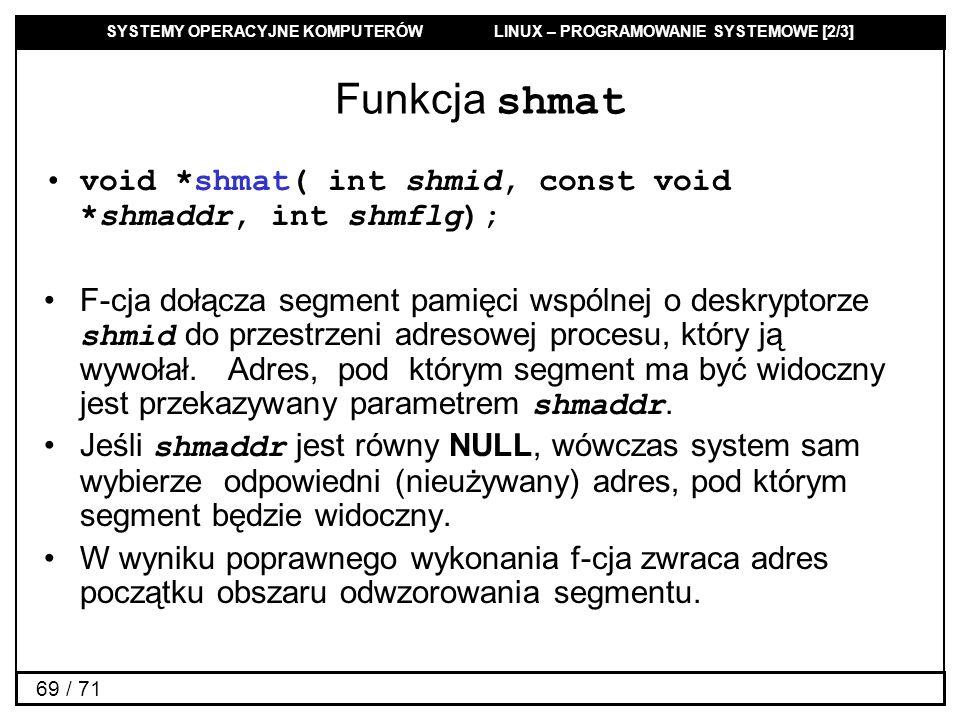 Funkcja shmat void *shmat( int shmid, const void *shmaddr, int shmflg);