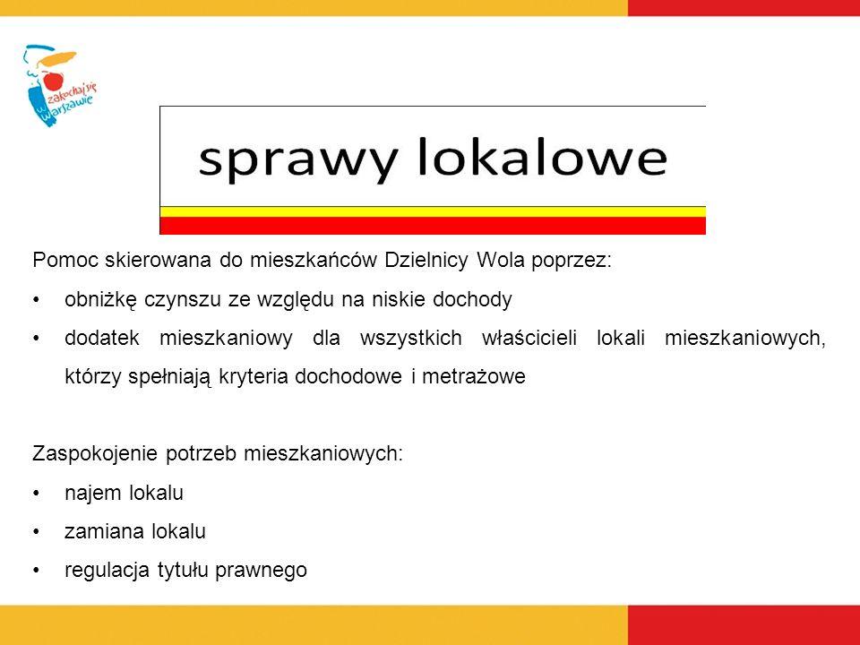 Pomoc skierowana do mieszkańców Dzielnicy Wola poprzez: