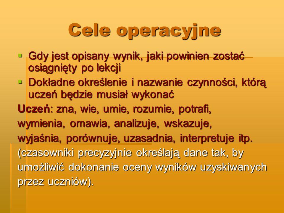 Cele operacyjne Gdy jest opisany wynik, jaki powinien zostać osiągnięty po lekcji.