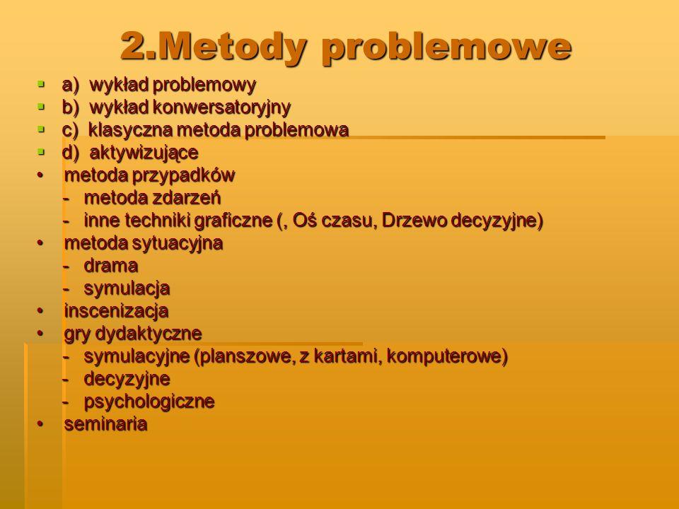 2.Metody problemowe a) wykład problemowy b) wykład konwersatoryjny