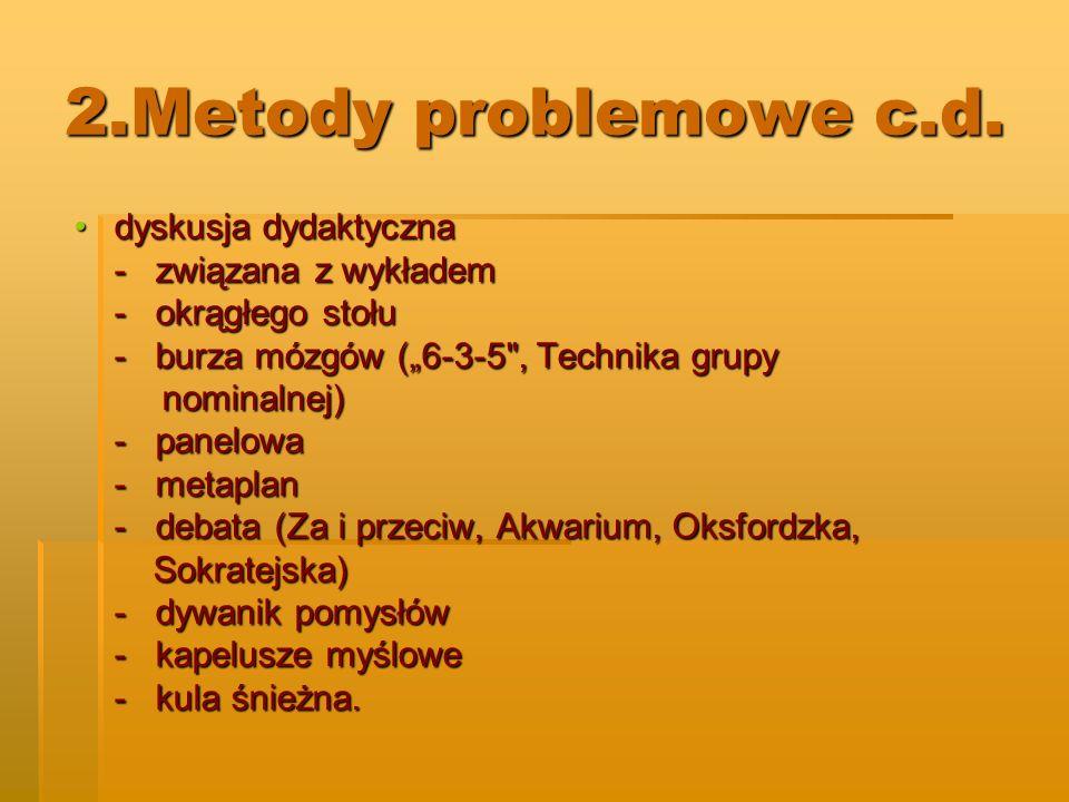 2.Metody problemowe c.d. dyskusja dydaktyczna - związana z wykładem