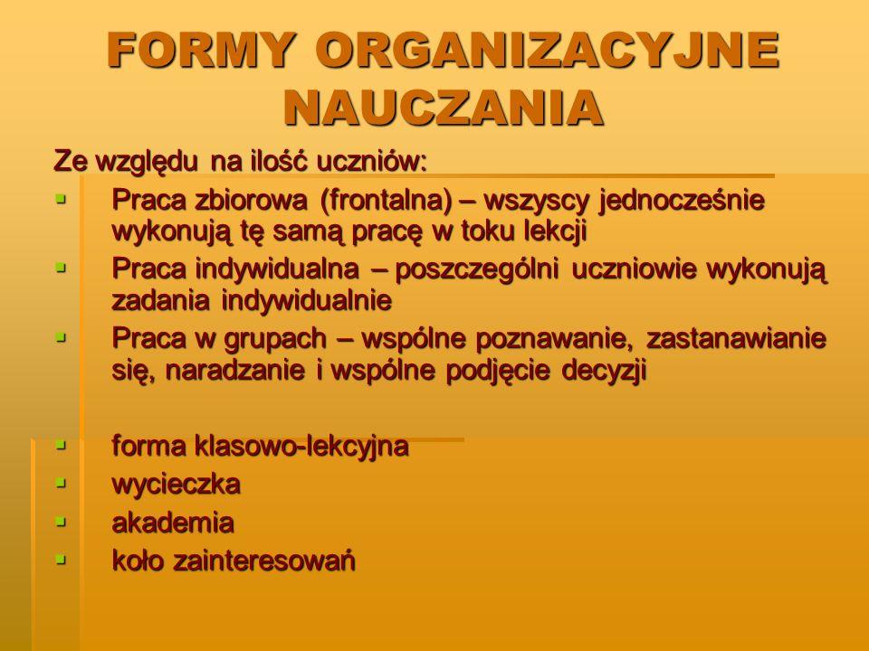 FORMY ORGANIZACYJNE NAUCZANIA