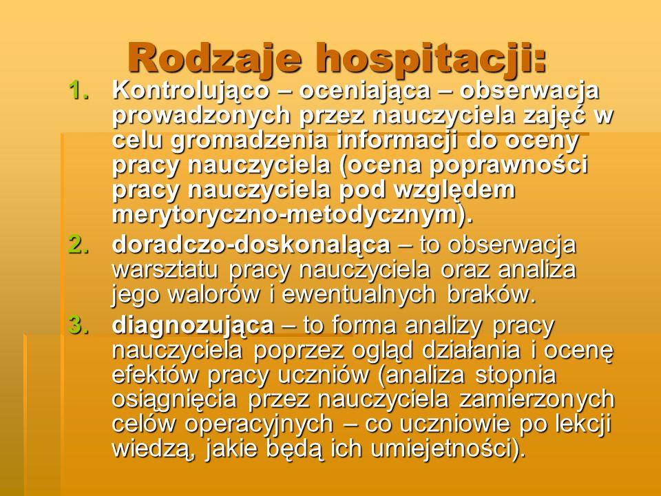 Rodzaje hospitacji: